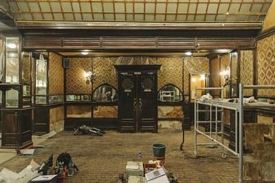 Gelagzaal tijdens de restauratie