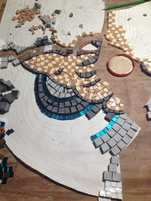Mozaïek in opbouw (foto Mosaice Di Due)